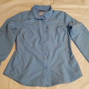 Columbia Omni-Shade Blue Button Down Shirt Sz SM